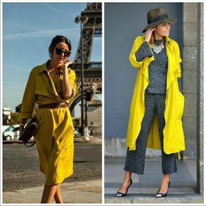 Light Yellow/Green loose-Fit Trench Coat💛💚